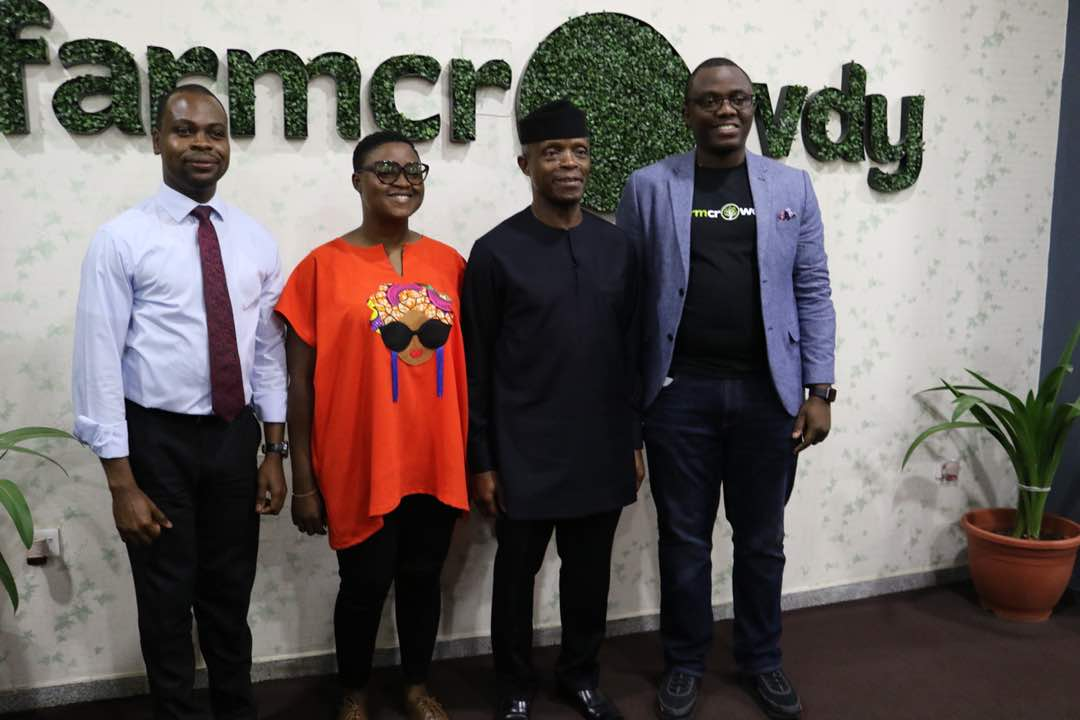 LTR: CEO/Co-Founder of Farmcrowdy Onyeka Akumah, His Excellency, Vice President of Nigeria Prof. Oluyemi Osinbajo, Vp Operations Tope Omotolani and Vp Finance Akindele Phillip