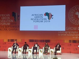 Heads of State Panel at the AGRF. LTR Former British Prime Minister Tony Blair, Vice President of Nigeria H.E. Osinbajo, President of Ghana H.E. Nana Akufo-Addo, African Union Commissioner of Rural Economy and Agriculture H.E. Josefa Leonel Correia Sacko, and Rwandan Prime Minister H.E. Edouard Ngirente