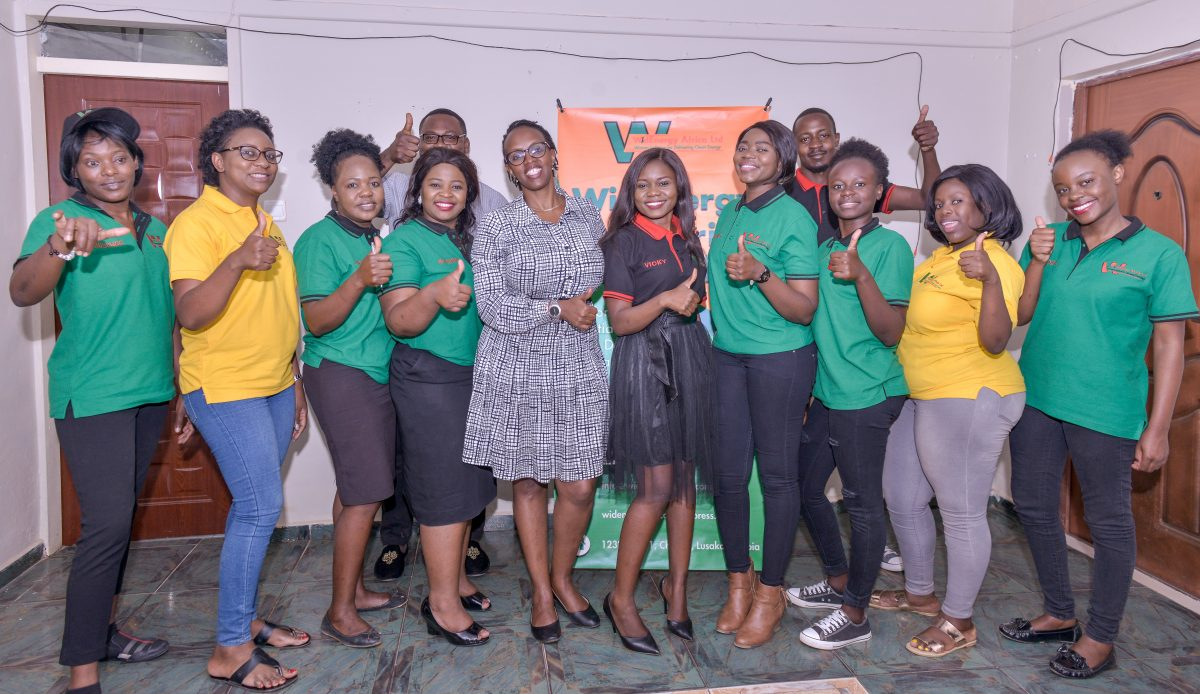 WidEnergy CEO Liliane Chabuka with a group of sales agents