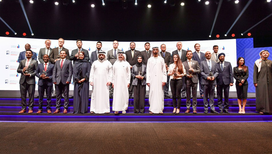 2020 Global Water Prize winners on stage in Dubai, UAE.