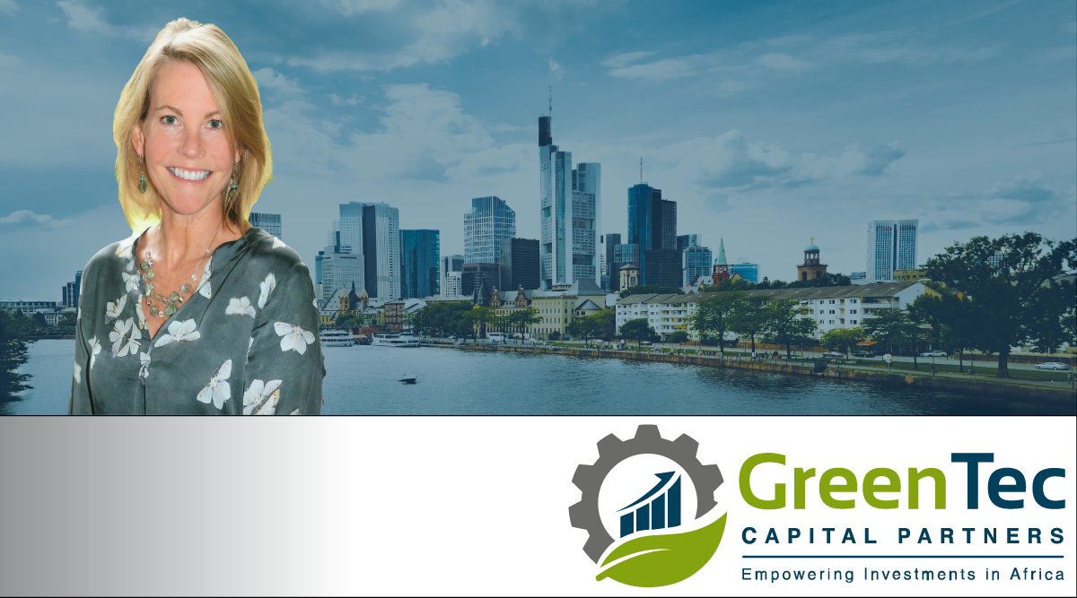 Banner with Shelly Kelly the Frankfurt skyline, and the GreenTec Logo