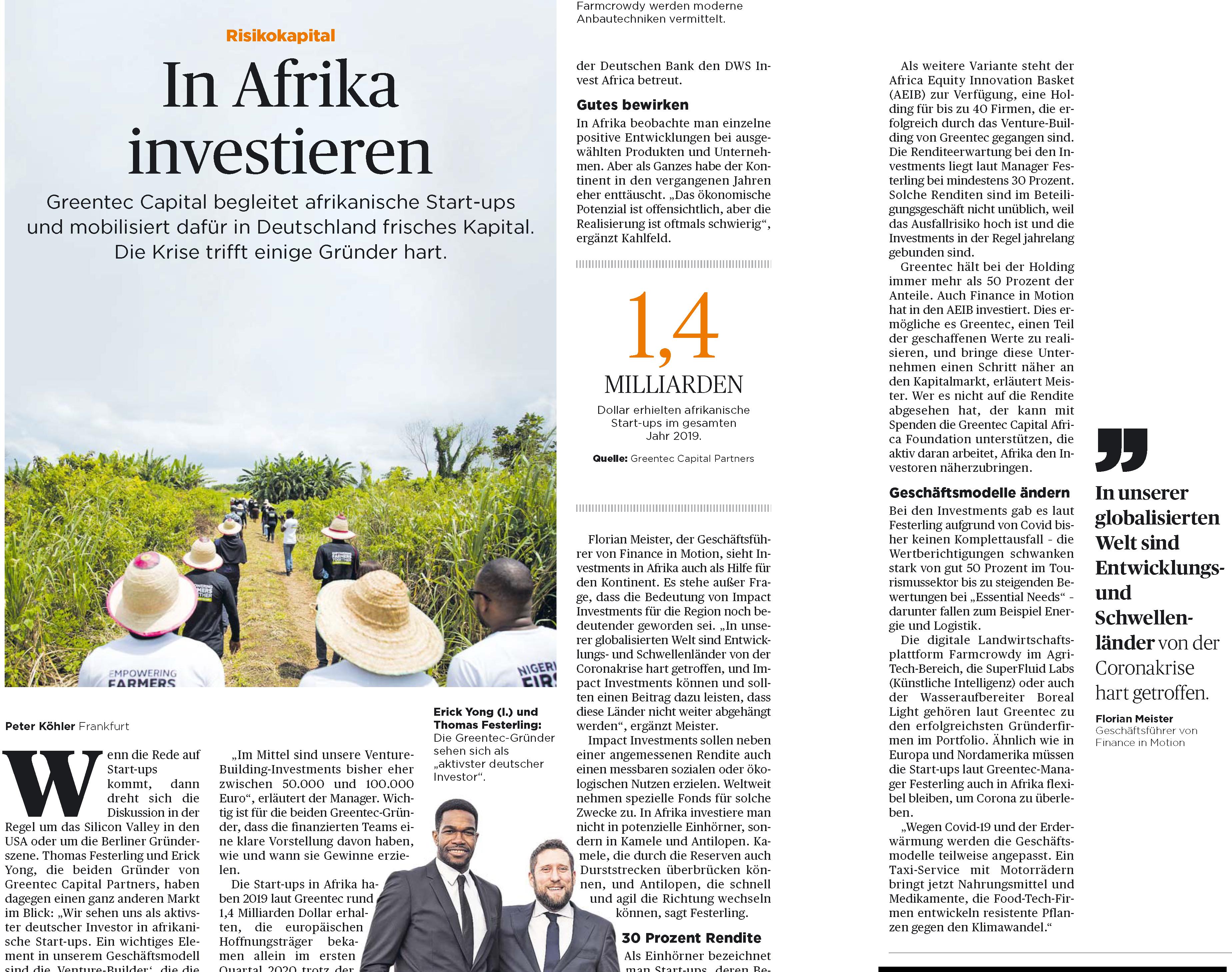 a page from Handelsblatt